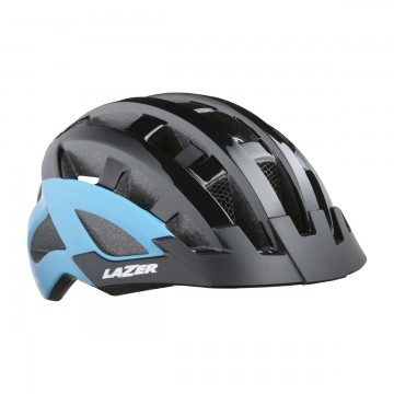Kask LAZER Comp DLX Black Blue + Siatka + LED